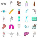 Polyclinic icons set, cartoon style. Polyclinic icons set. Cartoon set of 25 polyclinic vector icons for web isolated on white background Royalty Free Stock Image