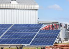 Polycrystalline silicon solar cells or photovoltaic cells in solar power plant station