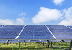 Polycrystalline silicon solar cells or photovoltaic cells in solar power plant station stock photos