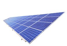 Polycrystalline silicon solar cells or photovoltaics isolate on white background Royalty Free Stock Photos