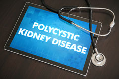 Polycystic kidney disease (genetic disorder) diagnosis medical c. Oncept on tablet screen with stethoscope royalty free stock photos