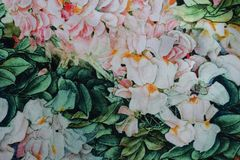 Polyester fabric with tropical flowers print Royalty Free Stock Photos