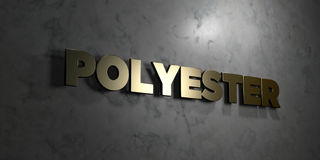 Polyester - Gold text on black background - 3D rendered royalty free stock picture. This image can be used for an online website banner ad or a print postcard Royalty Free Stock Images