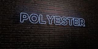 POLYESTER -Realistic Neon Sign on Brick Wall background - 3D rendered royalty free stock image. Can be used for online banner ads and direct mailers Stock Photos