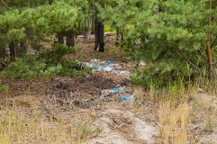 Polyethylene garbage thrown out in the forest is an elemental dump royalty free stock photos