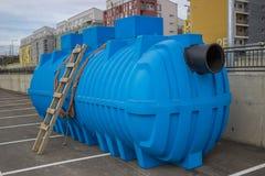 Polyethylene module for wastewater treatment plants Stock Image