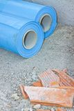 Polyethylene protection vapour barrier to restrict the passage o. F vapour from the hot part of the structure to the cold part of roof and wall and protect it Royalty Free Stock Photography