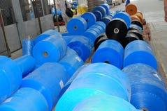 Polyethylene in wharehouse Royalty Free Stock Image