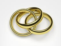 Polygamy. 3d render illustration of a gold ring attached to two rings Stock Photo