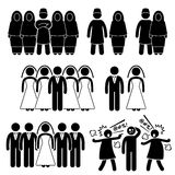 Polygamy Marriage Multiple Wife Husband Cliparts. Human pictogram concept showing polygamy in Muslim and Islam. This set also include multiple marriage for other vector illustration