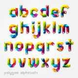 Polygon alphabet colorful font style. Royalty Free Stock Photography