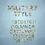 Polygon alphabet  with military font style. Royalty Free Stock Images