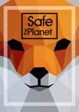 Polygon animals in abstract style. Polygonal animals fox safe the planet Royalty Free Illustration
