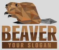 Polygon beaver logotype in poly art style. Vector isolated logo animal. Modern professional beaver logo for a construction busines stock illustration