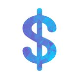 Polygon blue icon dollar Royalty Free Stock Image
