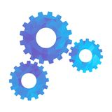 Polygon blue icon gear Stock Images