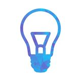 Polygon blue icon lamp Royalty Free Stock Images