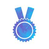 Polygon blue icon medal Royalty Free Stock Image