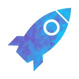 Polygon blue icon rocket Royalty Free Stock Images