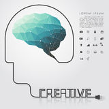 Polygon brain and creative head wire with business icon. Vector Stock Photos