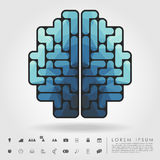 Polygon brain from tetris blocks with business icon. Vector Royalty Free Stock Photo