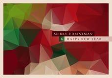 Polygon Christmas Greeting Card. Vector Christmas greeting card design with abstract polygonal background Stock Photos
