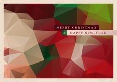 Polygon Christmas Greeting Card. Vector Christmas greeting card design with abstract polygonal background Royalty Free Stock Photo