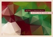 Polygon Christmas Greeting Card. Vector Christmas greeting card design with abstract polygonal background Royalty Free Stock Image
