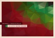 Polygon Christmas Greeting Card. Vector Christmas greeting card design with abstract polygonal background Royalty Free Stock Photography