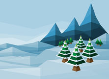 Polygon Christmas Snow Winter Background. Abstarct Christmas polygon snow winter wonderland landscape background scene Royalty Free Stock Photo