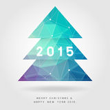 Polygon christmas tree on merry christmas & happy new year 2015 Stock Photos