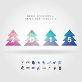 4 polygon christmas tree on merry christmas & happy new year 201. 5 concept with party icon vector Stock Photos