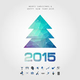 Polygon christmasl and 2015 merry christmas and happy new year w. Ith party icon vector Stock Photo