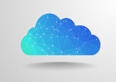 Polygon cloud. Minimalistic illustration of polygon cloud with wireframe Stock Photos