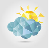 Polygon cloud and sun Royalty Free Stock Image