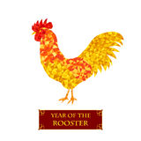 Polygon cock. Symbol 2017 New Year. Rooster silhouette. Polygon cock. Symbol 2017 New Year. Golden bird icon. Holiday greeting card design. Isolated on white Royalty Free Stock Photos