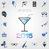 Polygon cocktail & 2015 merry christmas and happy new year with. Party icon vector Royalty Free Stock Photography