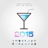 Polygon cocktail and 2015 merry christmas and happy new year wit. H party icon vector Stock Images