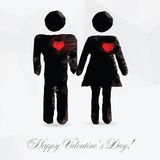 Polygon couple in love - vector illustration Royalty Free Stock Photo