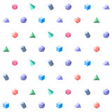 Polygon 3d objects Seamless geometric pattern Royalty Free Stock Images
