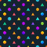 Polygon 3d objects Seamless geometric pattern Stock Photo