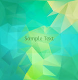 Polygon design stylized vector abstract background. Blue and green colors Stock Photos