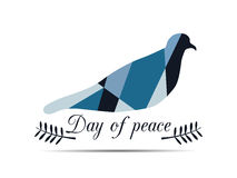Polygon dove with an olive branch. International Day of Peace. Royalty Free Stock Photography