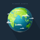 Polygon east earth hemisphere on dark. Polygonal Planet Earth, eastern hemisphere, globe with clouds Royalty Free Stock Photos