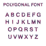 Polygon font alphabet purple pink color Stock Photo