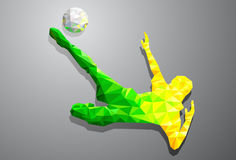 Polygon football kick, sport Royalty Free Stock Image