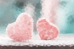 Polygon-Form des Herzens auf weiches Licht-Hintergrund Bokeh, polygonal Lizenzfreies Stockbild
