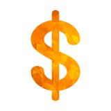 Polygon golden icon dollar Royalty Free Stock Images