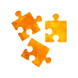 Polygon golden icon puzzle Stock Images