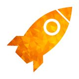 Polygon golden icon rocket Stock Image